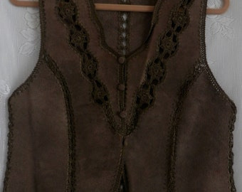 Vintage Brown Suede Leather Crochet Stitch Detailing Patch Vest Hippy Women's Size SmalL