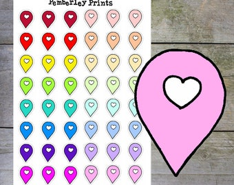 Location Marker Stickers // Hand Drawn To Go Stickers in Rainbow Bright and Pastel Colours // F6