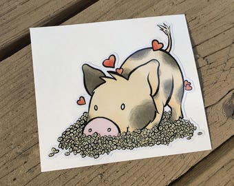 "Vinyl Decal Cute Little Pig ""Cheerio, Love"" Piggy Die Cut Art Indoor/Outdoor Sukoshi Buta Mini Pig Pigxel Art"