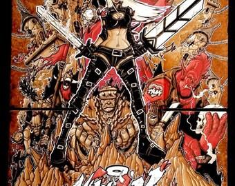 "Drawing ""Magik"" by Opoil Comics Graffiti Street Art 70 x 50cm"