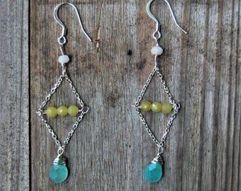 Aquamarine Teardrop/Yellow Chalcedony Earrings/Dangle/Drop/Silver Fill/Pierced Ears/White Jade/Diamond/Gemstone/Dainty/Simple/Classy/Genuine