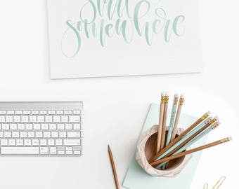 Start Somewhere Black or Teal Handwritten Calligraphy Art Print