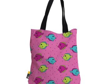 "Artist Designed Tote Bag - 18"" Inch Pink Beach Bag   Fish Tank by Bigshot Robot    UBU Republic"