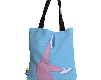 "Artist Designed Tote Bag - 18"" Inch Blue Beach Bag   Cartoon Legs by Bigshot Robot    UBU Republic"