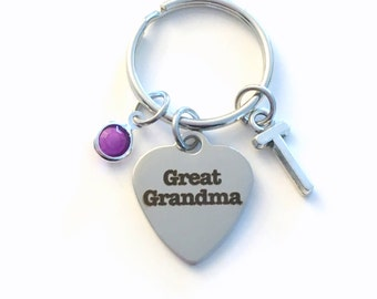 Great Grandma KeyChain, Family Heart Key Chain, Grandmother Keyring, Initial birthstone present Birthday Personalized her from grandchildren