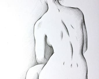 ORIGINAL artistic nude pencil charcoal drawing, women figure, girl, Illustration