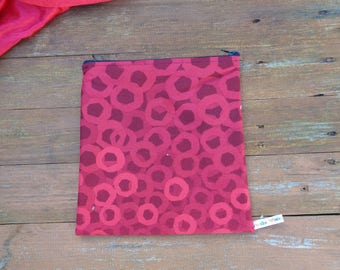 Red OXO  Large Poppins Waterproof Lined Zip Pouch - Sandwich bag - Eco - Snack Bag - Bikini Bag - Lunch Bag -  - Make Up - Beauty Bag