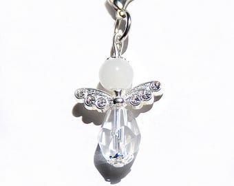 Beaded Glass Crystal Angel pendant silver strass guardian angel lucky charm handbag key chain purse jewelry birthday gift for her christmas