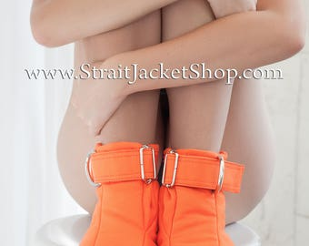Prison Restraining Booties - Orange Soft Padded Booties for Prisoners / Bondage / BDSM / Restraining