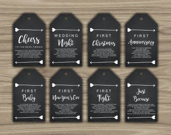 Milestone Wine Tags - Chalkboard - Heart - Arrow - Gift Basket Tags - 1st Year Milestones Year Of Firsts - INSTANT DOWNLOAD  PRINTABLE - L54