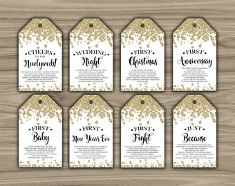 Milestone Wine Tags - Gold - Bridal Shower - Gift Basket Tags - First Year Milestones - INSTANT DOWNLOAD - Year Of Firsts - PRINTABLE - L62