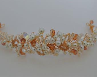 Bridal hair vine, gold hair vine, pearl and crystal hair piece, wedding head piece, tiara