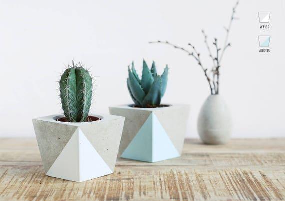 Flower pot made of concrete for Blumentopfe basteln