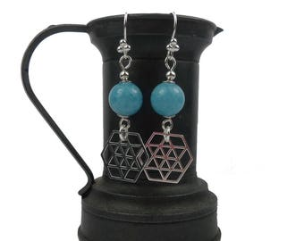 Sterling Silver earrings and Aqua Marine, Hexagon charms