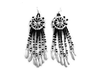 Ethnic embroidered earrings with Swarovski glass crystal silver fringe black and white