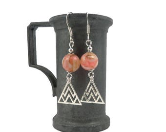 Earrings, Sterling Silver shell beads pink coral and white triangles, ethnic