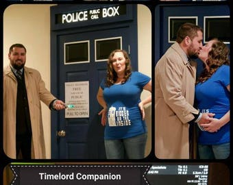 "Tardis Maternity Shirt Doctor Who Themed ""It's bigger on the inside"" wording"