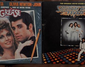 2 X Soundtrack LP - Grease, Saturday Night Fever, John Travolta, Oliver Newton-John