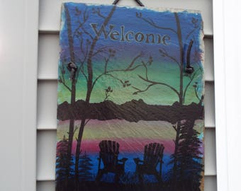 Hand Painted Sunset on the Lake Welcome Slate