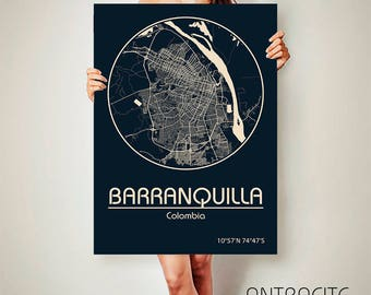 BARRANQUILLA Colombia CANVAS Map Barranquilla Poster City Map Barranquilla Art Print Colombia poster Colombia map art Poster Colombia map