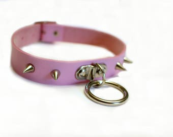 Light Pink Spiked Choker Collar BDSM