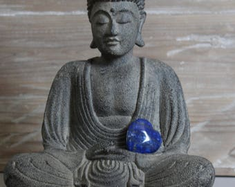 Lapis Lazuli Crystal Heart and Card Sale, Wonderful Thank You, Gratitude Gift or Appreciation, for Friendship , Communication, Harmony.