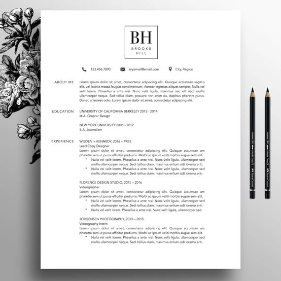Modern resume template professional cv template ms word modern resume template professional cv template ms word creative resume template simple resume teacher resume instant download brooke yelopaper Gallery