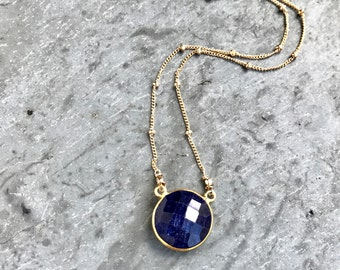 Sapphire Necklace, Bezel Sapphire Pendant, 14K Gold Filled, Satellite Saturn Chain, Boho Chic Layering Necklace, Sapphire Jewelry, September