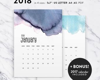 Printable 2018 Calendar, Watercolor Calendar Planner 2018 PDF, A4 UsLetter A5 Calendar Printable Wall Calendar, Modern Instant Download