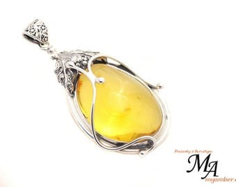 Amber stone Pendant Silver sterling 13822 AUTHOR'S +Certificate myamber.eu
