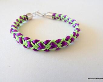 Purple green woman girl teen reversible kumihimo braided bracelet