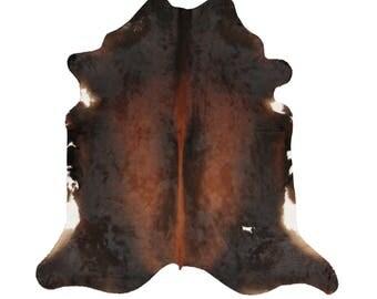 Rich Brown Cowhide Rug - Brindle Cow hide Rug - Handpicked Natural Cowhide