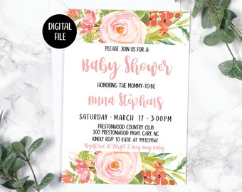 Baby Shower Invitation | Baby Girl | Pink Roses | Floral Watercolor | Spring Summer | Printable/Digita Filel