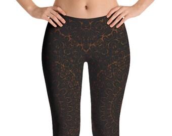 Capris, Chocolate Brown Yoga Pants, Black Leggings with Brown Mandala Designs for Women, Printed Leggings, Pattern Yoga Tights