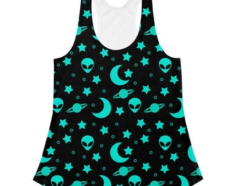 Alien Shirt, Alien Tank Top, Outer Space Clothing, Black and Blue Stretchy Night Sky Printed Top for Women