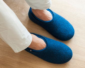 Blue house slippers, Mens Clogs, best mens slippers, boiled wool slippers, breathable office slippers, ethical mens most comfortable shoes