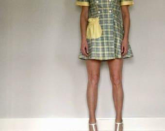1950s plaid sailor mini dress// Vintage summer naughty school girl yellow short rockabilly// Women's size M medium 8