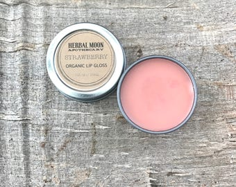 STRAWBERRY organic lip gloss • Limited Run for summertime • nourishing, conditioning, all-natural • 1/2 oz reusable tin