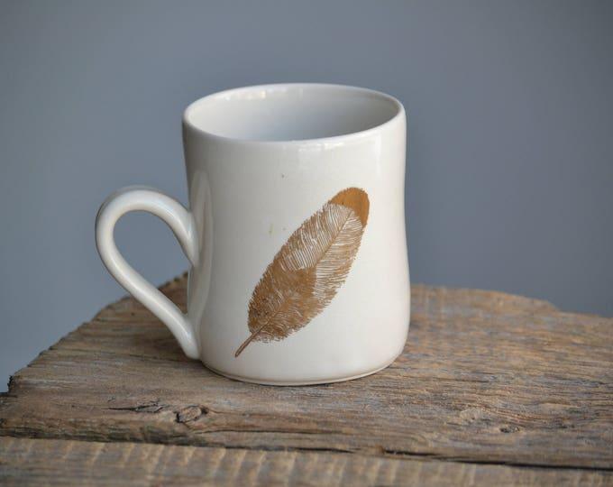 22k Gold feather handmade ceramic white simple mug V2