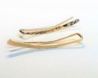 14K Gold Filled Ear Climbers, Ear Climber Earrings, Minimalist Jewelry, Modern Earrings, Everyday Earrings.