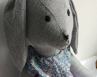 Handmade stuffed bunny rabbit heirloom doll