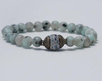 Blue Stacking Bracelet, Stone Bead Bracelet