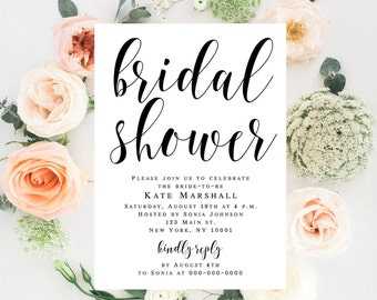 Bridal shower template Bridal invitations Travel bridal shower invitation Instant download Mermaid bridal shower Cinderella bridal shower
