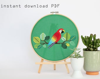 Red Parrot - Modern counted cross stitch pattern - Instant download PDF