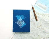 Travel journal with world map and compass design, notebook with coptic binding sized A6, blue book cloth