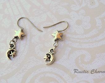 Silver Tone Moon and Star Dangle Hook Earrings