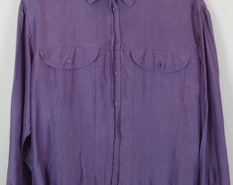 Vintage shirt, 80s clothing, shirt 80s, silk, purple, long sleeves, oversized