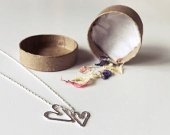 Sterling Silver Textured Heart Necklace \\ Eco Silver //