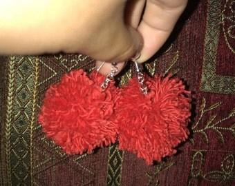 Red Pom Pom Earrings Small