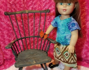 Tie-Dyed Lace Shirt with Earthy Skirt Outfit- American Girl & Friends